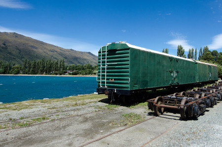 kingston: KINGSTON, NZ - JAN 15:An old train car in Kingston on lake Wakatipu on Jan 15 2014. Its the home of the vintage steam train Kingston Flyer. Editorial