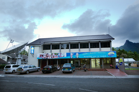 south pacific ocean: RAROTONGA - SEP 21:Telecom Cook Islands station in Avarua on Sep 21 2013.Its the sole communications provider for 15 islands in the hart of the South Pacific ocean with a population of 15,000 people.