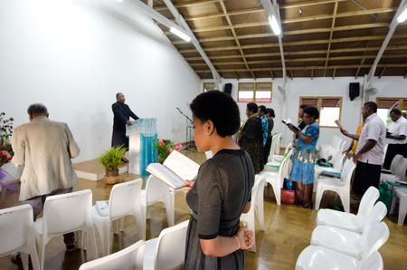 rarotonga: RAROTONGA - SEP 16:Sunday service at the Methodist Church of Fiji on Sep 16 2013.94 of Cook Islanders associated themselves with a faith and the Methodist Church is the newest established on 2010.