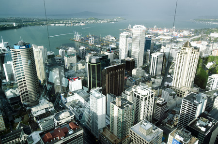 ranked: AUCKLAND, NZ - OCT 08:Aerial view of Auckland CBD from the Sky Tower on Oct 08 2013. The Economists Worlds most livable cities index of 2011 ranked Auckland in 9th place.