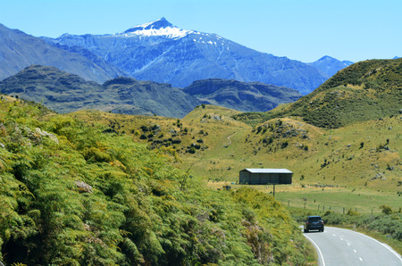 aspiring: WANAKA, NZ - JAN 17:A car drive to Mount Aspiring National Park on Jan 17 2014.Its located in the Southern Alps of the South Island of NZ and its part of the Te Wahipounamu World Heritage site.