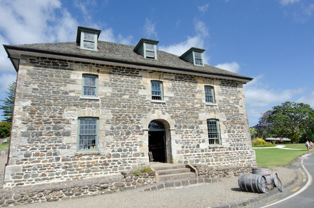 nz: KERIKERI, NZ - JAN 07:Visitors at Kerikeri stone store  on Jan 07 2014.It is the oldest stone building in New Zealand.