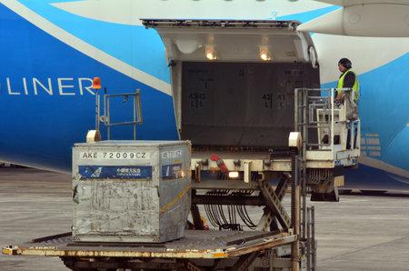 carga: Auckland, NZ - ABR 10 2014: el hombre carga en la plataforma de carga de carga aérea de carga de aviones de carga.