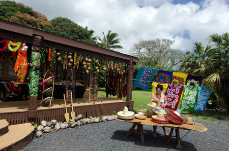 largely: RAROTONGA - SEP 21:Cook Islander shopkeeper of souvenir shop on Sep 21 2013.Cooks Islands are largely unspoiled by tourism with 100,000 visitors a year.They one of the worlds most remote Islands.