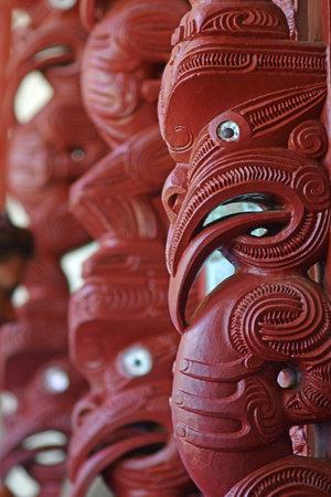 nz: WAITANGI, NZ - JAN 07: Maori Marae (meeting house) decoration on Jan 07 2014 in Waitangi National Reserve, Bay of Islands, Far North District, Northland Region, New Zealand (NZ).