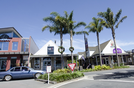 nz: KERIKERI, NZ - DEC 22:Kerikeri main street on Dec 22 2013. Its the largest town in Northland NZ and it has some of the most historic buildings in the country.