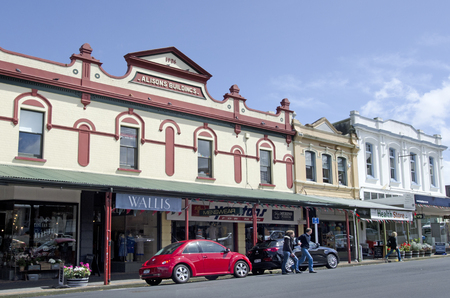 DEVONPORT, NZ - OCT 09:Old buildings in Devonport on Oct 10 2013.The suburb hosts the Naval Base of the Royal NZ Navy but is best known for its charming dining and drinking establishments. Editorial
