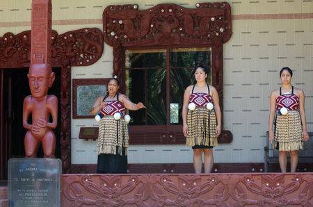 aotearoa: WAITANGI, NZ - FEB 06:Maori women sing and dance during Waitangi Day on February 6 2014 in Waitangi NZ.Its a New Zealand public holiday to celebrate the signing of the Treaty of Waitangi in 1840. Editorial