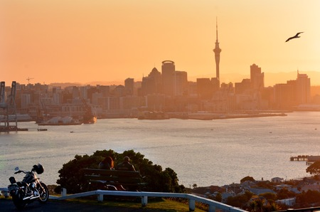 nz: AUCKLAND, NZ - JAN 18:Auckland downtown during sunset on Jan 18 2014. Its the largest and most populous urban area in the country. Editorial