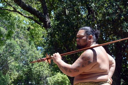 aotearoa: WAITANGI, NZ - FEB 06:Maori man preforming haka during Waitangi Day on February 6 2014 in Waitangi NZ.Its a New Zealand public holiday to celebrate the signing of the Treaty of Waitangi in 1840.