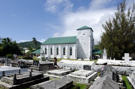 rarotonga: RAROTONGA - SEP 16:The CICC church in Avarua on Sep 16 2013.The dominant religion of Polynesia and the Cook Islands is Christianity since the first missionaries arrived in 1821.