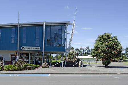 nz: KERIKERI, NZ - DEC 22:Proctor library on Dec 22 2013. Its the largest town in Northland NZ and it has some of the most historic buildings in the country.