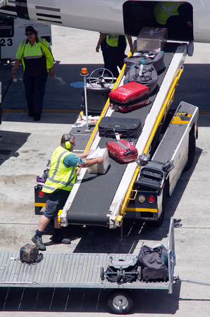 air travel: AUCKLNAD - DEC 31:Air transport luggage in Auckland International Airport on Dec 31 2013.Unaccompanied luggage led to downing of two flights when a bomb inside the suitcase exploded in 1985 and 1988. Editorial