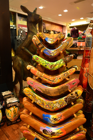boomerangs: MELBOURNE - APR 14 2014:Australian Souvenir shop.6 million visitor visiting Australia every year and the tourism contributing about $100 million a day to the Australian economy.