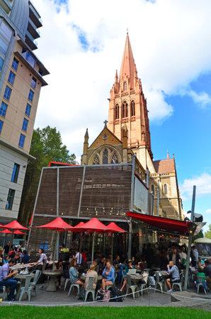 city square: MELBOURNE - APR 13, 2014:Visitors at City Square ,Melbourne.Its historical a popular tourist destination in Melbourne Australia. Editorial