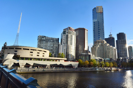 southbank: MELBOURNE - APR 14, 2014: Melbourne Southbank skyline.It is one of the primary business centers and also one of the most densely populated areas of Greater Melbourne.