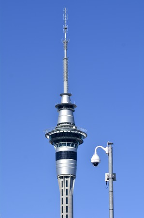 australasia: AUCKLAND,NZ - JUNE 01 2014:Security camera beside Auckland Sky Tower.Its the tallest free-standing structure in the Southern Hemisphere and iconic symbol of Auckland New Zealand. Editorial