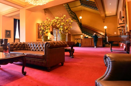 surviving: MELBOURNE, AUS - APR 14 2014:Hotel Windsor lobby.The Windsor is notable for being Australias only surviving grand 19th century city hotel and only official grand Victorian era hotel.