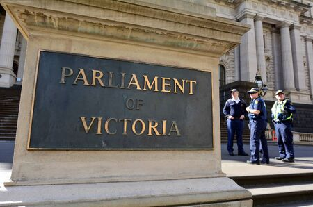 victoria: MELBOURNE - APR 14, 2014:Security on the Parliament House.It have the power to make laws for Victoria subject only to limitations placed on it by the Constitution of Australia and of the Commonwealth.