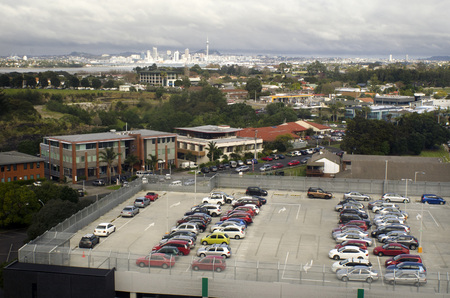 25 29: AUCKLAND - MAY 29 2014:Roof parking lot.According to International Parking Institute, parking is a $25 billion industry plays a pivotal role in transportation, building design and environmental issues