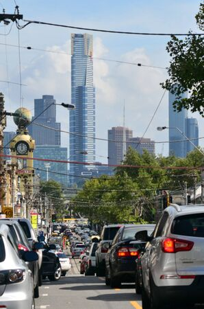 population growth: MELBOURNE - APR 13, 2014:Heavy traffic in Melbourne Victoria, Australia.Melbourne have population and employment growth with international investment in the citys industries and property market.