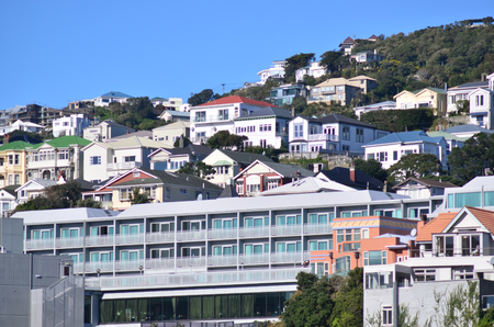 mount price: WELLINGTON - AUG 22 2014:Houses on mount victoria.The average property price in Wellington city is about $540,000. Editorial
