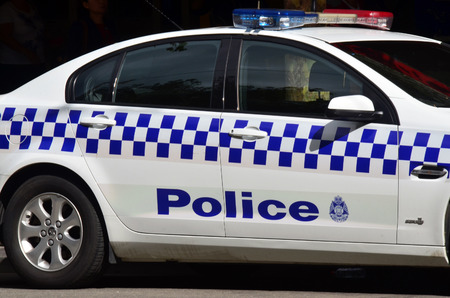 MELBOURNE, AUS - APR 14 2014:Victoria Police car.As of 2013, Victoria Police has over 12,539 sworn members across 325 police stations.It has a running cost of aprox. 2.1b $AUD (A$372 per resident). Editorial