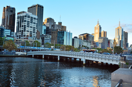 MELBOURNE - APR 14, 2014:The Yarra River.It was a major food source and meeting place for indigenous Australians from prehistoric times today its one of the cleanest capital city rivers in the world. Editöryel