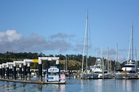 new entry: OPUA, NZ - MAY 11 2014:Opua marina entrance. Its New Zealands northernmost port of entry for overseas vessels and a Customs and Ministry of Agriculture and Fisheries (MAF) Place of First Arrival. Editorial