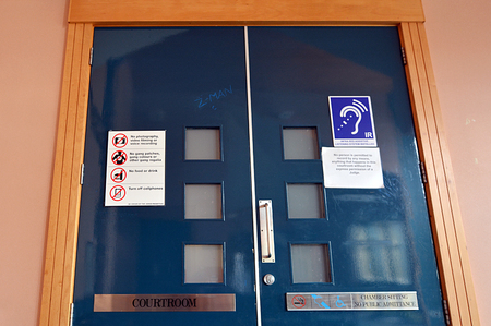 court proceedings: KAITAIA,NZL - AUG 18 2014:Trial in closed court.Its a procedure where a Judge privately looks at confidential,sensitive or private information to determine what may be used by a party or made public.