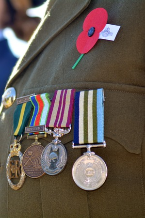 ceremonial clothing: Close up of war medals on New Zealander soldier during a National War Memorial Anzac Day services in New Zealand. Editorial