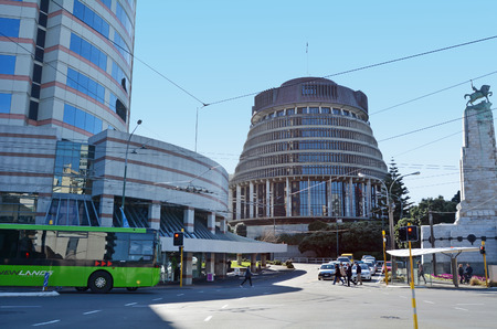 australasia: WELLINGTON - AUG 22 2014:The Beehive building - Parliament of NZ in Wellington city.It is so-called because of its shape is reminiscent of that of a traditional woven form of beehive. Editorial