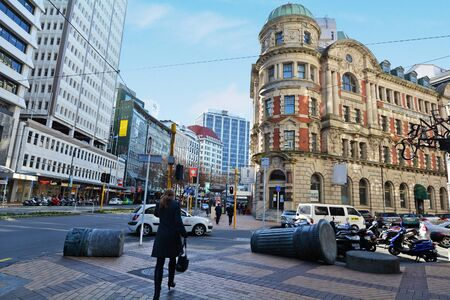 new zealand: WELLINGTON - AUG 22 2014:Traffic on Lambton Quay.It is the heart of the central business district of Wellington, the capital city of New Zealand. Editorial