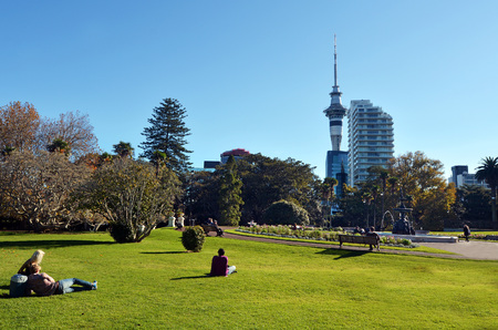 AUCKLAND - MAY 31 2014:Visitors in Albert park.Albert Park is a famous scenic park in central Auckland, New Zealand.