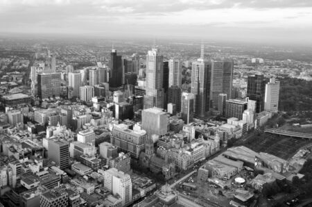 population growth: MELBOURNE - APR 14, 2014:Aerial view of Melbourne Victoria, Australia.Melbourne have population and employment growth with international investment in the citys industries and property market. Editorial