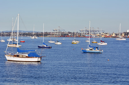 AUCKLAND - MAY 28 2014:Boats mooring in Waitemata Harbour.One of Aucklands nickname is City of Sails as about one in three Auckland households owning a boat.
