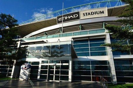 afl: MELBOURNE - APR 14 2014:Etihad Stadium, a multi-purpose sports and entertainment stadium primarily used for Australian rules football and is the headquarters of the Australian Football League (AFL)
