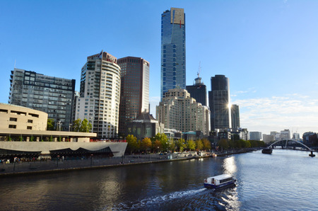 southgate: MELBOURNE - APR 14, 2014: Melbourne Southbank skyline.It is one of the primary business centers and also one of the most densely populated areas of Greater Melbourne.