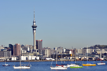 nz: AUCKLAND, NZ - MAY 28 2014:Auckland downtown skyline.Auckland has been rated one of the worlds top 10 cities to visit by travel bible Lonely Planet.