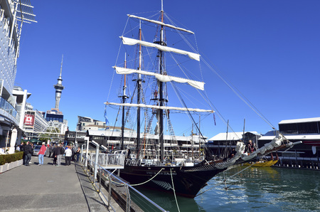 pirate crew: AUCKLAND - JUNE 01 2014:Spirit of New Zealand mooring at Princes Wharf.Its a tall ship with steel-hulled, three-masted barquentine that was built by the Spirit of Adventure Trust youth development.