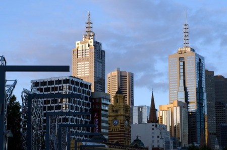 population growth: MELBOURNE - APR 13, 2014:Melbourne Downtown skyline .Melbourne have population and employment growth with international investment in the citys industries and property market.