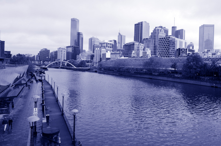 MELBOURNE - APR 11, 2014:The Yarra River.It was a major food source and meeting place for indigenous Australians from prehistoric times today its one of the cleanest capital city rivers in the world.