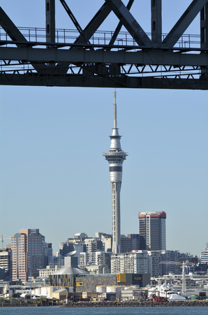 nz: AUCKLAND, NZ - MAY 27 2014:Auckland downtown skyline.Auckland has been rated one of the worlds top 10 cities to visit by travel bible Lonely Planet.