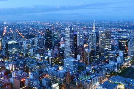 MELBOURNE - APR 14, 2014:Aerial view of Melbourne Victoria, Australia.Melbourne have population and employment growth with international investment in the city's industries and property market.