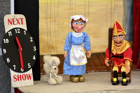 old sign: AUCKLAND,NZ - JUNE 01 2014:Puppetry show.It is very ancient  and is believed to have originated 3000 years BC.