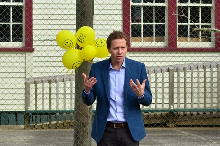 participatory: PERIA ,NZL - JUNE 23 2014:Russel William Norman giving a speech.He is a New Zealand politician and environmentalist. He is a Member of Parliament and male co-leader of the Green Party