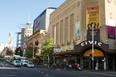 queen's theatre: AUCKLAND - MAY 27 2014: Auckland Civic Theatre in Queens Street Auckland, New Zealand.First opened on 20 December 1929 and still the largest theatre in New Zealand Editorial
