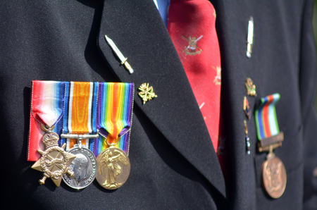 remembrance day: Close up of war medals on New Zealander soldier during a National War Memorial Anzac Day services in New Zealand. Editorial