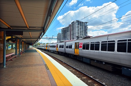 goldcoast: BRISBANE, AUS - SEP 26 2014:Queensland Rail in Roma Street railway station.It is a heritage-listed major railway station in the CBD of Brisbane, Australia. Editorial