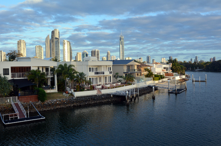 home prices: GOLD COAST - NOV 08 2014:Laxury houses in Chevron Island. Australia central bank keeping a close eye on the property market amid a recent resurgence in home prices.